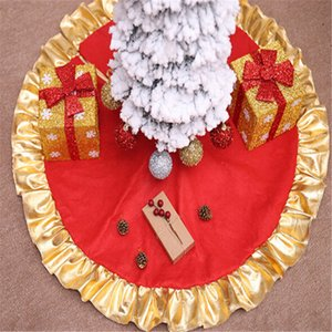 New Red Christmas Tree Skirt Carpet Party Ornaments Christmas Decoration For Home Non-woven Xmas Tree Skirt Aprons