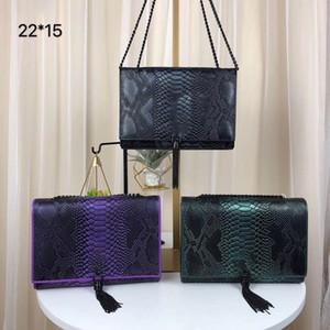 Spitzenverkauf 5A Handtaschen Tassel Metallkette silber schwarz Handtasche Farbiges Leder Textur echtes Leder Serpentine Crocodile Schultertasche