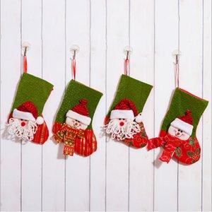 Children's gift bag Santa 2019 canvas Christmas socks gift bag canvas Christmas ornaments small burlap decorative socks