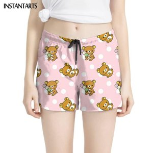INSTANTARTS Cartoon Lovely Bear Pattern Quick Dry Surfing Shorts for Women Holidays Beachwear Female Summer Swimming Sport Pants