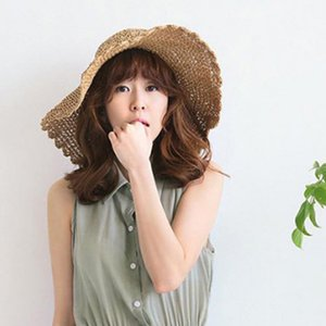 Korean Version Sun Hat For Women Holiday Straw Female Summer Big Brim Fold Uv Protection Jump Ropes