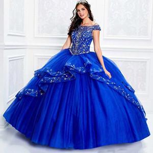 2020 Royal Blue Quinceanera degli abiti di sfera fuori dalla spalla Appliqued merletto borda ragazze partito di spettacolo vestito convenzionale Sweet 16 abiti a buon mercato