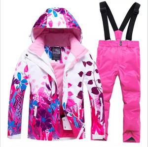 Enfant Filles Costume Veste de ski Pantalon de snowboard style fleur d'hiver Vêtements pantalons coupe-vent imperméable extérieur Vêtements de sport Ski