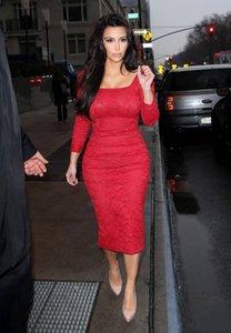 2019 New Sexy Formal Dress Vestidos Knee-Length Kardashian Red Carpet Dresses Long Sleeves Red Lace Celebrity Dresses Evening Dresses 840