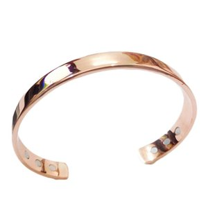 Pure Copper Magnet Energy Health Open Bangle Plated Gold Simple Magnetic Bracelet Bio Healthy Healing