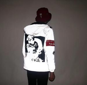 New Reflective 3m Jacke Tide Marke Männer Frauen Clown beiläufige Hiphop Windjacke Nacht Paar Mantel mit Kapuze Fluoreszierende Kleidung