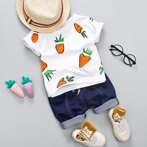 Dark Blue Ropa Kid Boy Summer Girl Conjunto Rábano Impreso Top + cortos ocasional del bebé impresión Rábano Camisa linda muchachos de la ropa Traje CY200515