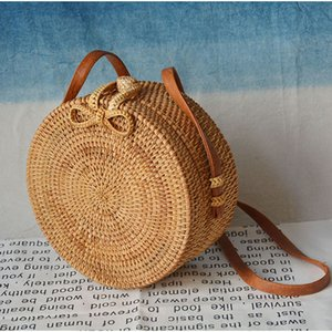 Hot 2019 Fashion Women Travel Bags Packing Cubes Stylish Ladies Beach Bags Handwoven Round Bag Chic Hasp Bag