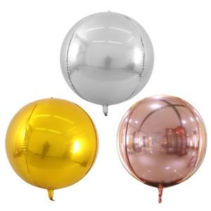 20pcs 22inch Altın Gümüş 4D Yuvarlak Folyo Balonlar Helyum Şişme Balon Düğün Bebek doğum günü partisi Globos Oyuncak Dekorasyon