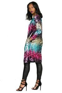 İlkbahar Sonbahar payetli Hırka Ceket Kadınlar Tasarımcı Uzun Renkli Moda Ceket Palto Açık Dikiş