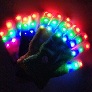 1 pair New Arrival Light-Up Toys LED Flashing Magic Glove Glow In The Dark Toys Light Up Finger Tip Lighting Toys For Children