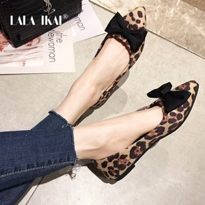 LALA IKAI Drop-shipping Flat Shoes Women Spring Summer Fashion Leopard Pointed Toe Butterfly-knot Slip-On Shoes 014A3335-49