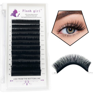 Wholesale custom Flash girl 0.04MM Auto Flowering Eyelash Extensions mink shiny Black And Mixed Length Premade Fan Eyelash Extension C D Cur