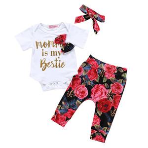 Çocuklar Kız Çiçek Giyim Seti Kısa Kollu Mektupları Baskılı Tops + Çiçek Pantolon + Kafa Çocuk Kız Tasarımcı Giyim