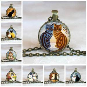 Оптовая художественного стекла кабошон ожерелье Cat Kitten ожерелье Потертый Chic Cat Круглый кулон для девочек стекла кабошон ожерелье