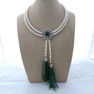 "GE111703 18 ""2Strands White Pearl Green Stone Necklace"