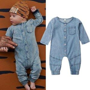 Pulsante Newborn bambino Kid del neonato vestiti della ragazza denim pagliaccetti pagliaccetto lungo del manicotto tuta unisex Outfit