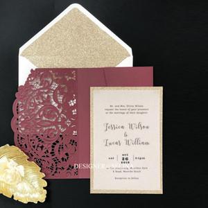 Marsala Einladung zur Hochzeit mit Glitzer-Umschlag Burgunder Geprägte Laser-Schnitt-Brautparty-Einladungen mit Glitter Bottom Süße XV Einladungskarten