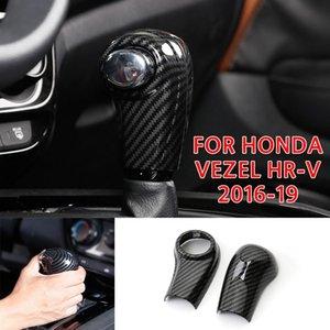 fibra de carbono PCMOS ABS Gear Shift Knob decorador de ajuste de la cubierta Para HR-V 2016-2019 Gear Shift Collares Interior engomada