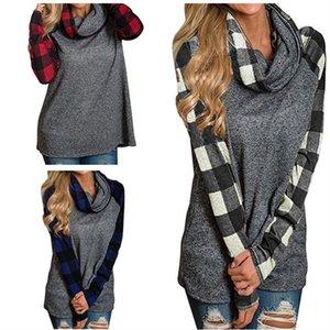 Plaid Pannello Raglan T shirt manica lunga Patchwork T-shirt camicetta Cumuli pullover collar Camice casuali Felpa autunno abbigliamento;