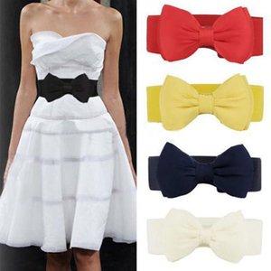 Kadınlar Vintage Kız Cinch Belt için Elastik Geniş Elbise Stretch Curmenbunds Şık Tatlı Big Bow Kemer Yeni Kayışlar