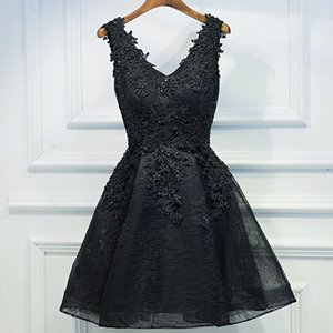 Party V-Neck Dress A-line Short Sleeve Robe Vintage Retro Casual Party Rockabilly Black 50s Lace Women Prom Dress
