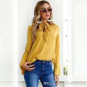 Ladys V Neck Solid Ribbon Flare Sleewe Shirt Womens Summer Deigner Clothing Fashion Casual Female Clothes