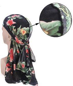 Pour Velvet Floral Print Turban Skull Durag Hommes Headwear Headwear Headscarf Unisexe Headrap Chapeau Cap Pirate Bandana Hip queue longue et Wome QHim