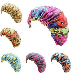 Imprimer Bonnet Afrique du sommeil pour les femmes double couche élastique Silky Stain Cap Mesdames tête Wrap Turban Hat