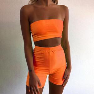 Crew Neck Tight Sexy Jumpsuit Fashion Sleeveless Casual Apparel 2 Pcs Tube Top Women Designer 2Pcs Short Sets