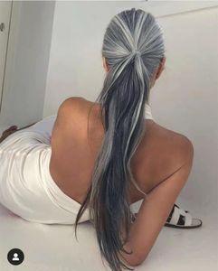 Необработанные индийские волосы ombre grey ponytail hairpiece Натуральный прямой серебристо-серый хвостик человеческих волос с расческами на шнурке 100 г 120 г 140 г