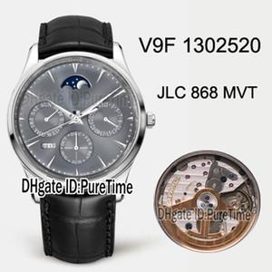 V9F ماستر رقيقة جدا الأبدي التقويم 1302520 JLC 868 التلقائية الرجال ووتش الصلب حالة رمادي الهاتفي المرحلة القمر جلدية أفضل طبعة Puretime