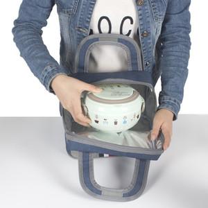 Сгущает Обед Сумка Кухня Организатор Оксфорд полосатой Handy Пикник Школа Обед сумка для хранения Женщины Портативный Функциональные сумки обед DH1138 Т03