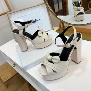 Moderne und Qualitäts neue Brautschuhe Neue weibliche Nachtclub hochhackigen Sandalen klobige Ferse wasserdichte Plattform sexy Sandalen aus Leder