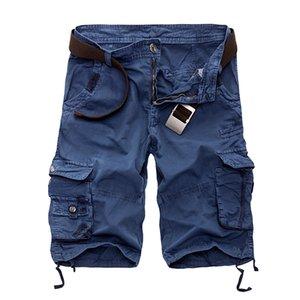 Günstige Lässige Shorts New 2020 Männer Cargo-Shorts beiläufige lose kurze Hosen Tarnung Militär Sommer-Art-Knie-Länge plus Größen 10 Farben