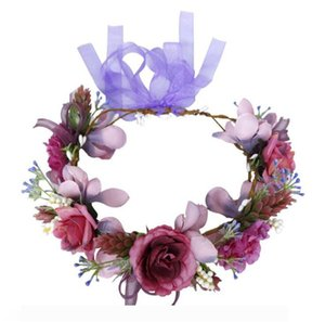 Bridal Wreaths Headband Romantic Purple Simulation Flowers Headband Headdress Decorations Party Favor Hair Accessories OOA7395