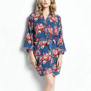 Frauen stilvoller Blumendruck Robe Nachtwäsche Dame Silk Satin Nachthemd-Kleid Drei Quater Hülsen Kimonorobe Nachtwäsche Schlafanzug