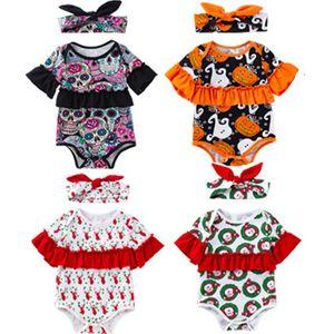طفل الفتيات عيد هالوين بذلة الغزلان اليقطين شبح المطبوعة الدانتيل ثوب فضفاض واحدة الصدر القوس التعادل عقال الفتيات وتتسابق m048