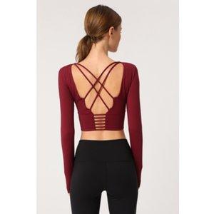 HSY Frauen zurück Straps Gym Yoga Crop Tops Yoga Shirts Langarm Trainings Top Fitness Laufen Sport-T-Shirts