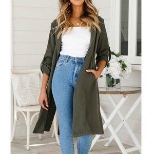 Осень Solid Color Open Стич Long Trench Повседневный длинными рукавами Женщины Длинные пальто