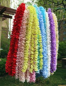 100cm long Artificial Wisteria Flower Vine Silk Hydrangea rattan DIY Wedding birthday party Decoration Wall backdrop flowers DLH245