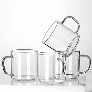 Glass Coffee Mugs Set of 4,Large Wide Mouth Mocha Hot Beverage Mugs(14oz),Clear Espresso Cups with Handle,Lead-Free Drinking Glassware,