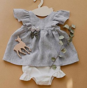 2019 Summer Infant Baby Girls Set Kids Cotton Dress Tops + Ruffles Shorts Girl 2pcs Outfits Children Set 15027