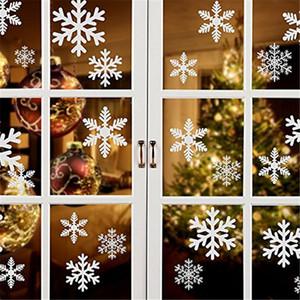 Copos de nieve blancos Decoraciones de la ventana Se aferra calcomanías calcomanías Adornos para el tema de Navidad Fiesta de Año Nuevo Suministros WX9-1131