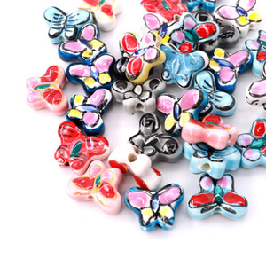 Butterfly ceramic beads loose beads earrings bracelet diy retro accessories retro vintage style jewelry hand earrings material loose beads