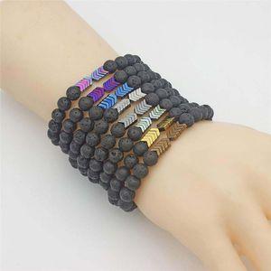 Colorful Arrow Bracelet Lava Stone Essential Oil Diffuser Bracelet women mens bracelets fashion jewelry will and sandy jewelry gift
