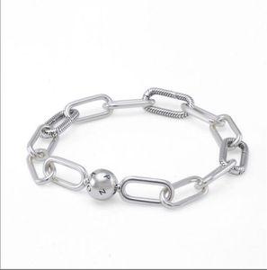 Charms real S925 Sterling Silver Pulseiras Me Collecction Chunky Fazer a ligação Bracelet Bangle Fit For Pandora DIY Bead encanto