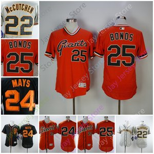 Discount Jersey 22 McCutchen 24 Willie May 25 Barry Bonds Männer Größe M-3XL Schwarz Grau Orange Button-Down-Pullover