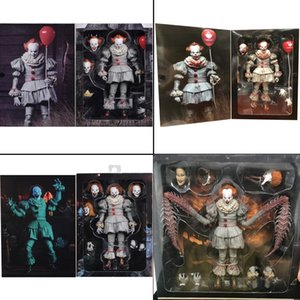 7inch 18cm 4 Types Original NECA Pennywise Joker Action Figure Toy Doll Horror Halloween Gift LY191210