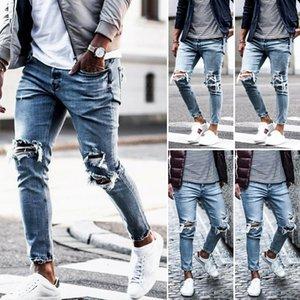 Rasgados flacos del motorista vaqueros destruidos pantalones desgastados de dril de algodón delgado de los hombres pantalones de EE.UU.
